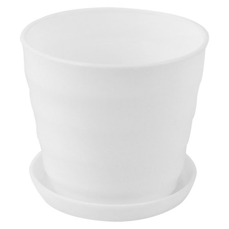 White Plastic Stripe Pattern Home Garden Office Plant Planter Holder Flower Pot (Pattern Pot)