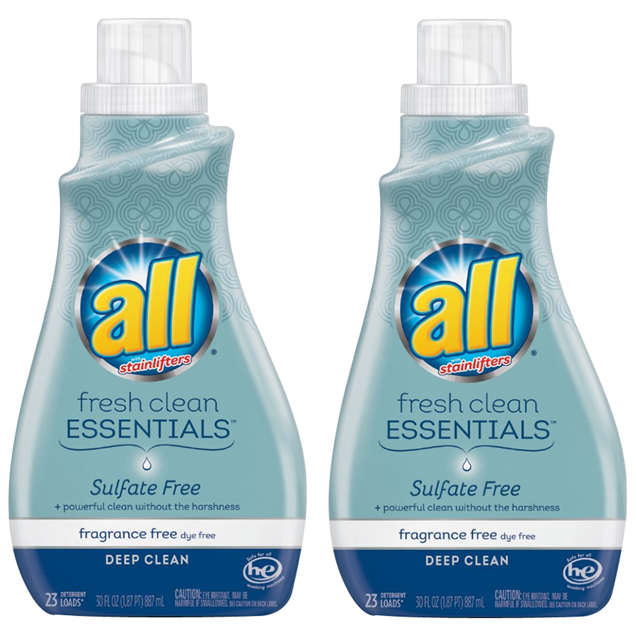 ALL® Fresh Clean Essentials™ Sulfate Free Fragrance Free Liquid Laundry Detergent 2-30 fl. oz. Bottle