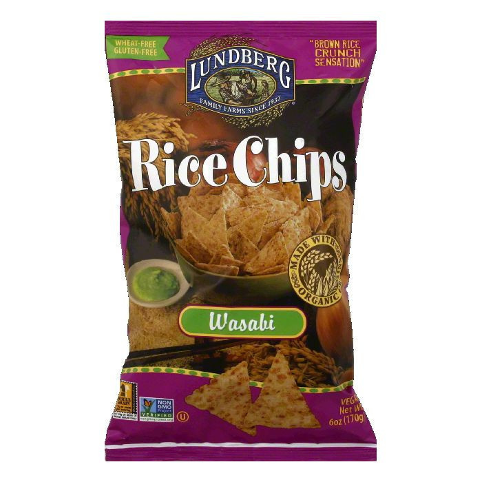 Lundberg Gluten Free Rice Chips Wasabi, 6 OZ (Pack of 12)