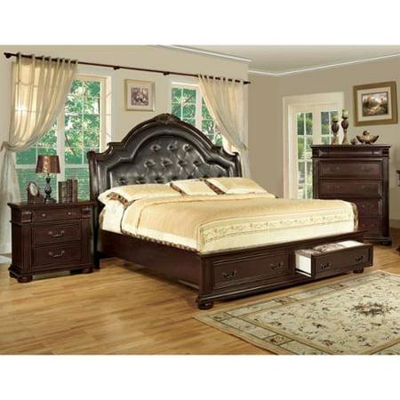 Furniture of America Lauretta English Style 3-Piece Brown Cherry Platform Bedroom Set Eastern King