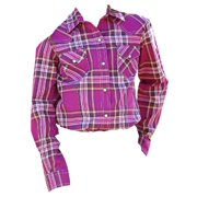 Cruel Girl Western Shirt Girls Kids L/S Plaid Snap Purple CTW3210004