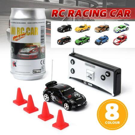 1:58 Multicolor Mini Coke Can RC Radio Remote Control Racing Car Gift For Kid  Sport Racing Car w/ 27MHz Remote Controller (Mini Remote Control Car)