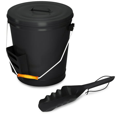 4.75 Gallon Black Ash Bucket with Lid and Shovel-Essential Tools for Fireplaces, Fire Pits, Wood Burning Stoves-Hearth Accessories by Home-Complete - Metal Easter Buckets