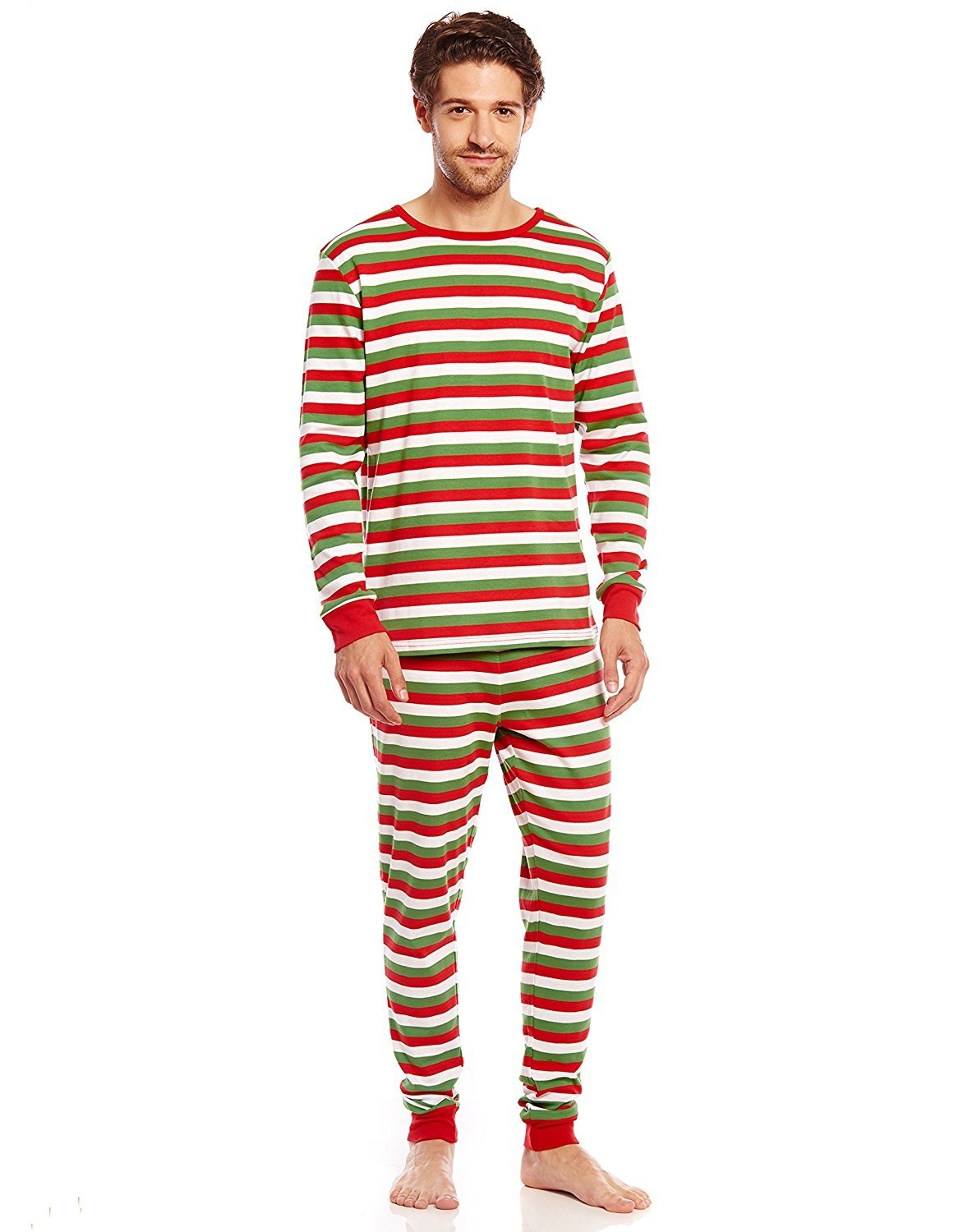 Leveret Mens Red White & Green Striped 2 Piece Pajama Set 100% Cotton X-Large