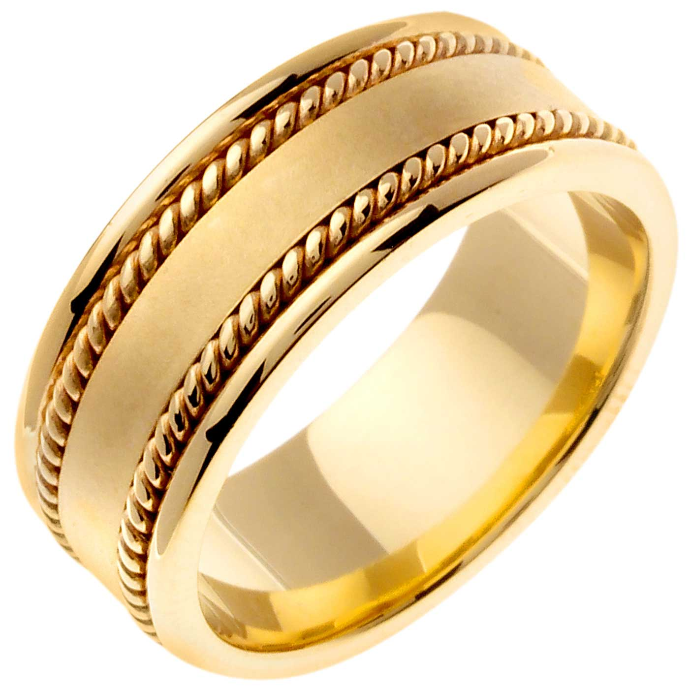 14K Gold Rope Edge Braid Handmade Comfort Fit Men's Wedding Band (8mm)