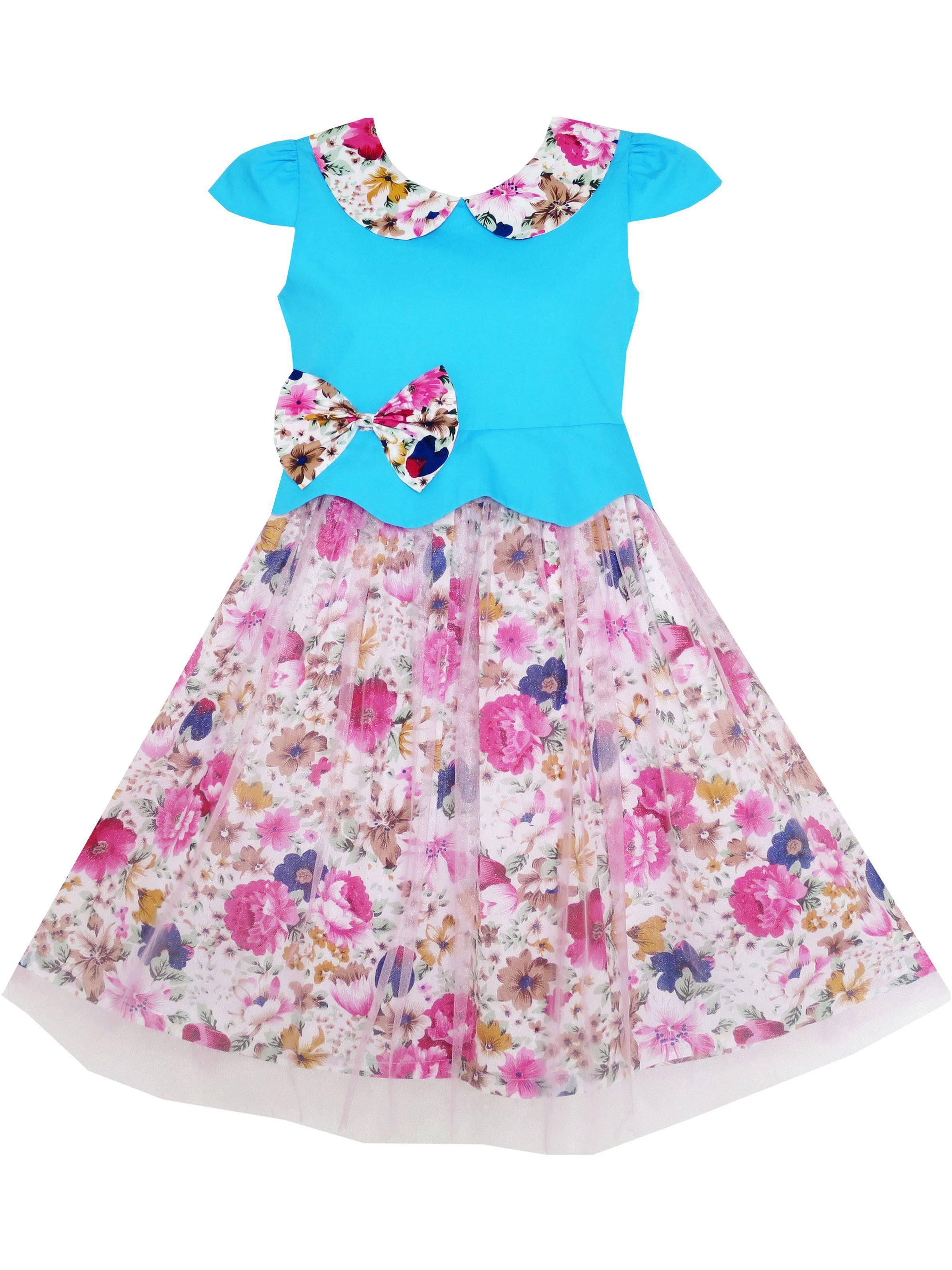 Girls Dress Turn-Down Collar Flower Detailing Tulle Overlay 6