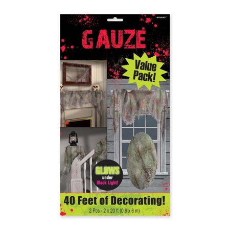 Amscan Gauze Drape Halloween Trick or Treat Zombie Decoration, Gray, 20' Pack of 2. (Halloween Trick Or Treat Trivia)