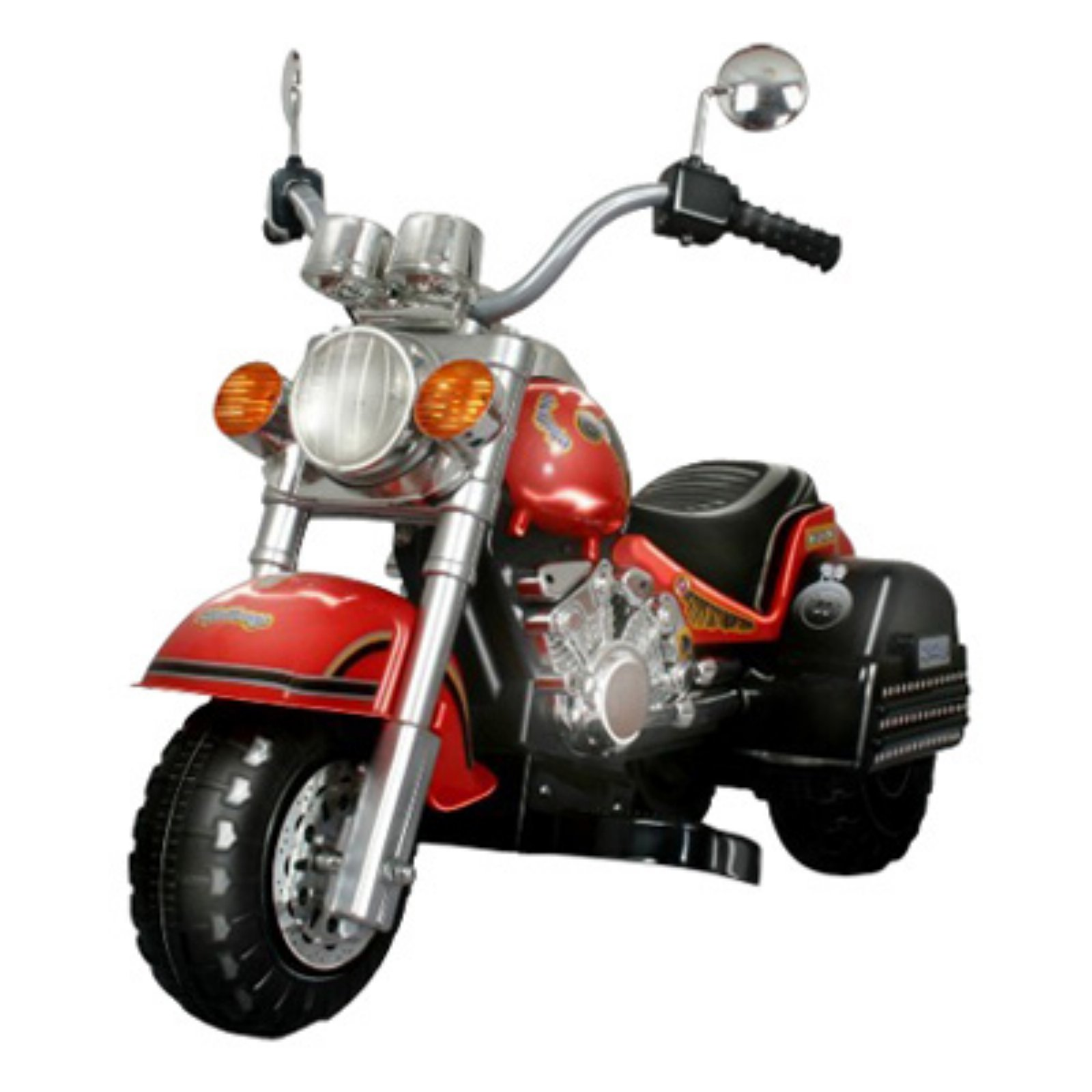 Merske Harley Chopper Style Motorcycle Battery Powered Riding Toy Red by Merske