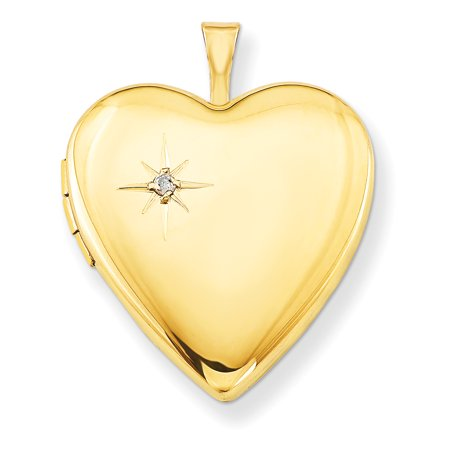 1/20 Gold Filled 20mm Diamond Heart Photo Pendant Charm Locket Chain Necklace That Holds Pictures W/chain Gifts For Women For Her