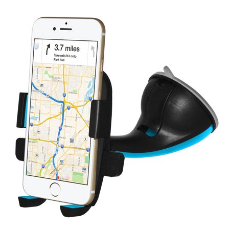 Car Mount, Flexible Arm Universal Windshield Cell Phone Holder with Strong Suction Cup for iPhone SE 7 Plus 6s 6 Plus 6 5s 5 4s 4 Samsung Galaxy S6 S5 S4 LG Nexus Sony Nokia and More-Blue (Iphone 4s Suction Mount)