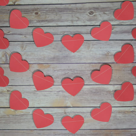 Red Heart Shaped Valentine's Day Paper Garland Banner (10FT) - Valentine Banner
