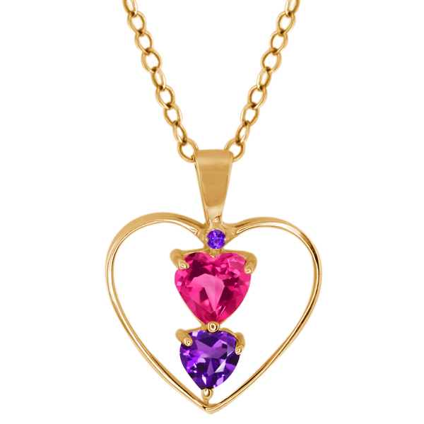 0.71 Ct Heart Shape Pink Mystic Topaz Purple Amethyst Gold Plated Silver Pendant