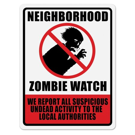 Club Pack of 12 Neighborhood Zombie Watch Sign Cutout Halloween Decorations 17