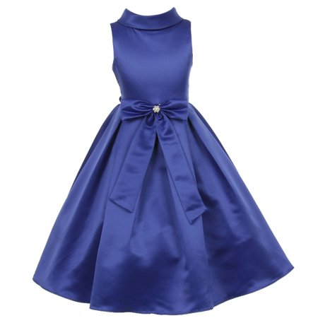 Little Girls Royal Blue Bridal Dull Satin Bow Rhinestone Flower Christmas Dress 4