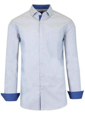 Men's Long Sleeve Slim-Fit Cotton-Stretch Pinstripe Dress Shirts (S-2XL)