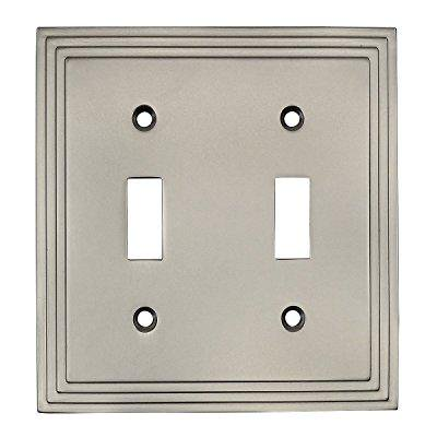 Decor Double Switchplate Cover (Cosmas 25033-SN Satin Nickel Double Toggle Switch Plate Switchplate Wall)