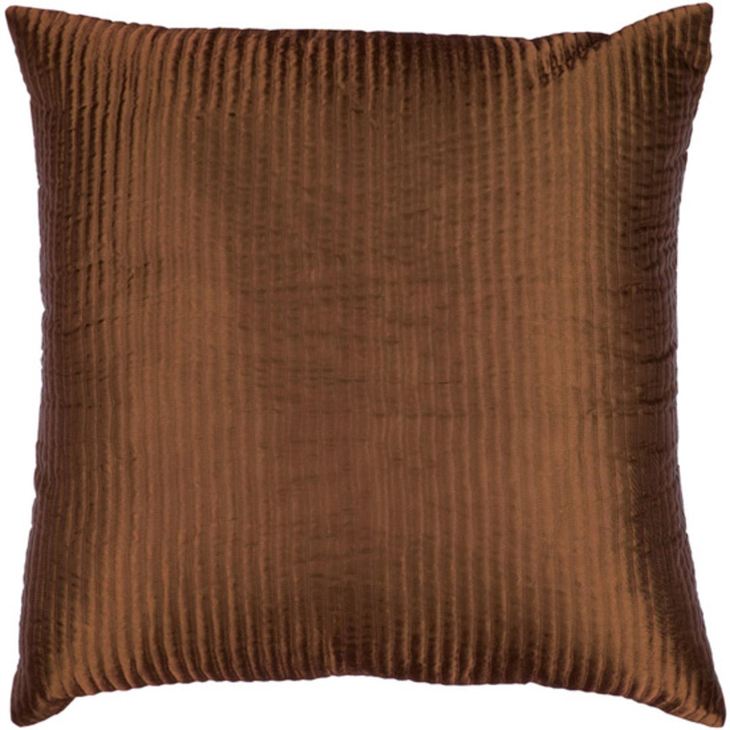 "20"" Chocolate Brown Shiny Ribbed Decorative Down Throw Pillow"
