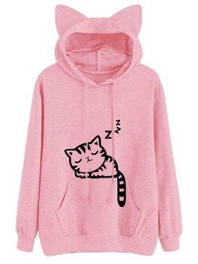 b6902d3484b Product Image Spring Autumn Hoodies New Pullovers Tops Hooded Sweatshirt  Girls Women s Hooded Cat Print Long Sleeve Sweatshirts