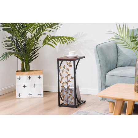 UBesGoo Sofa Side and End Table, Small - Metal, Dark Brown Wood Top - Perfect for Your Living Room, Slides Up To Sofa / Chair / Recliner - Keep Snacks, Drinks Books & Phone ()