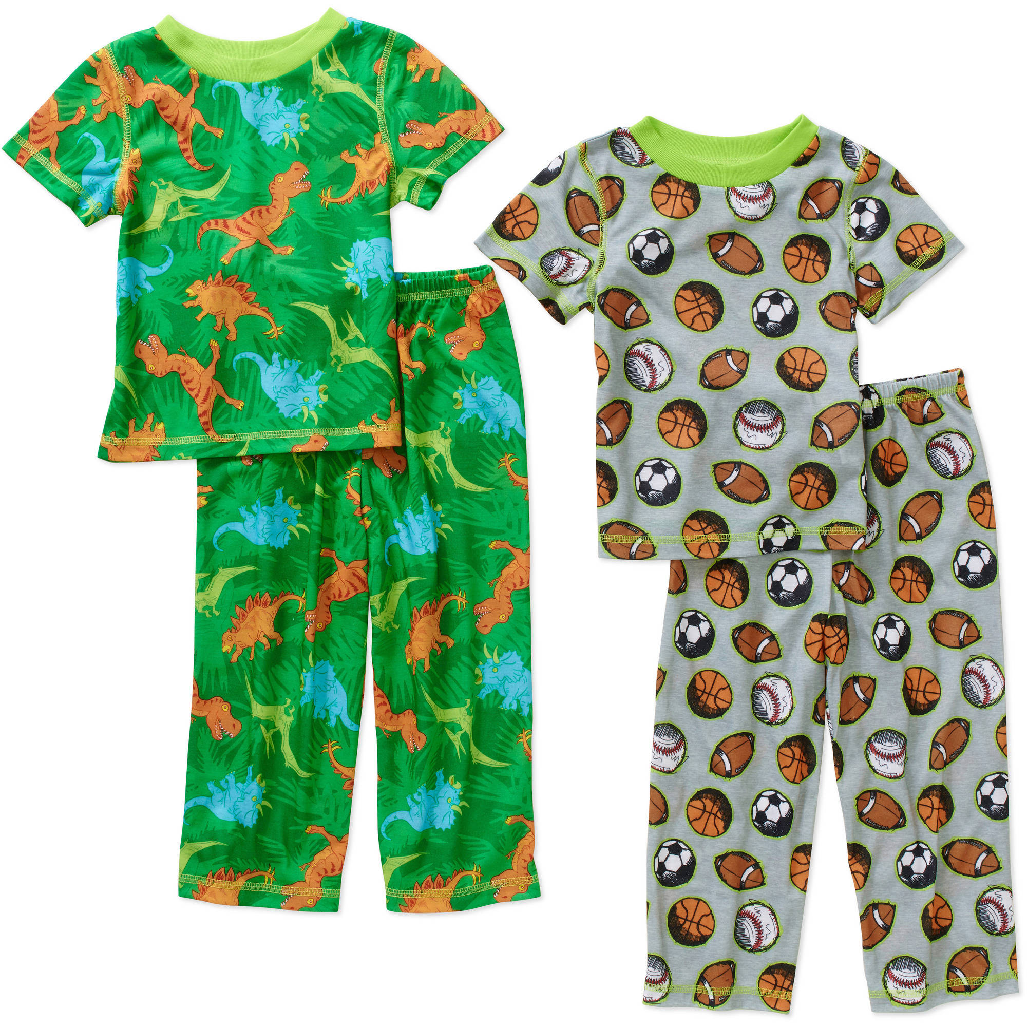 Baby Toddler Boy Graphic Jersey Pajamas, 4-Piece Value Pack