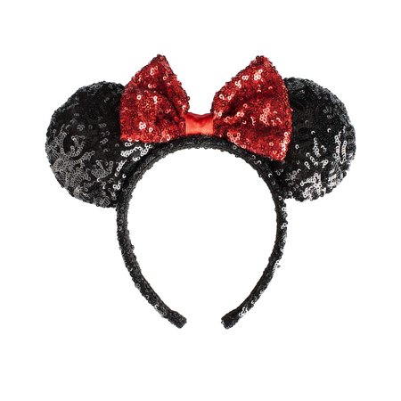 Minnie Mouse Headbands In Bulk (Classic Minnie Mouse Ears & Bow Red Black Sequins Disney)