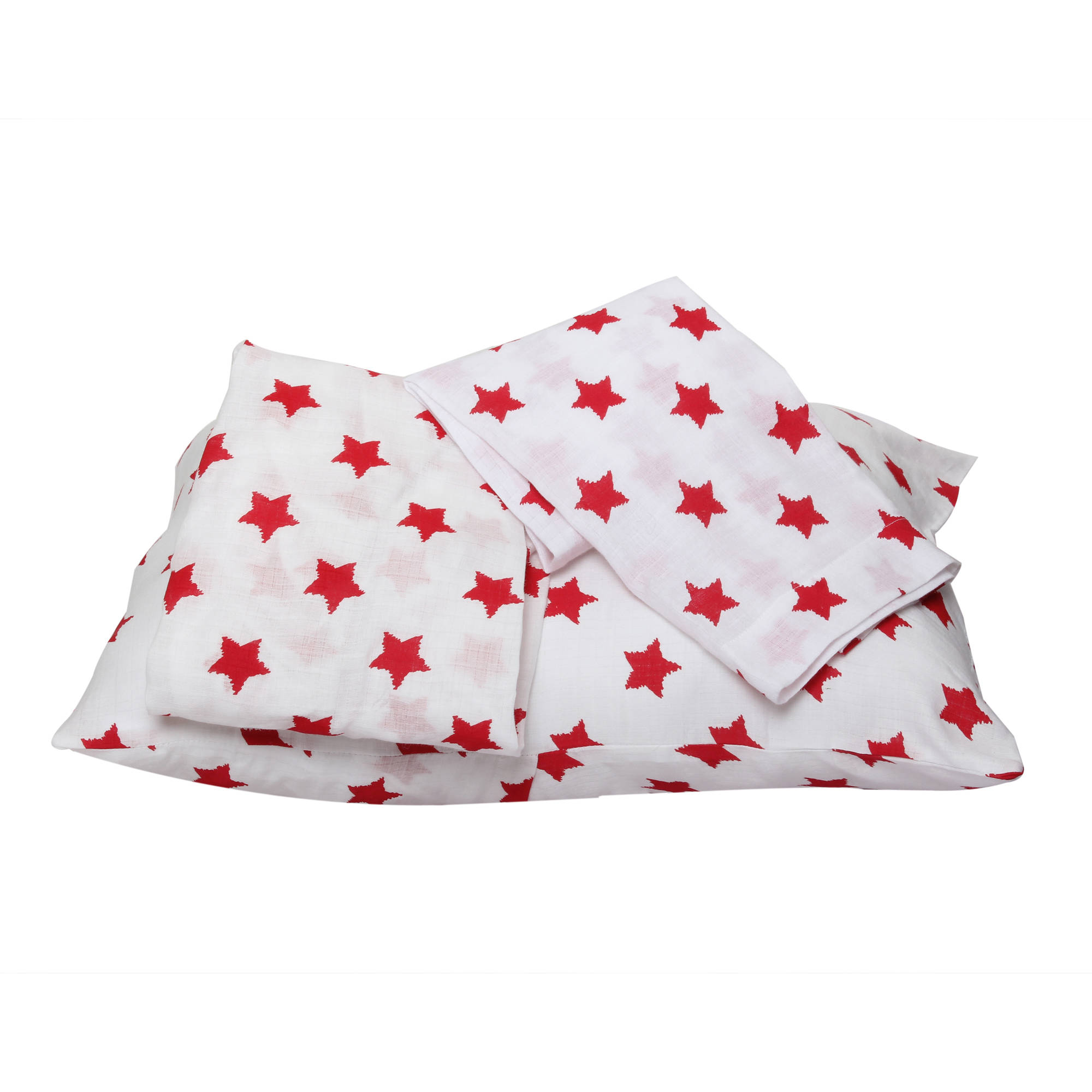 Bacati - Stars 100% Cotton breathable Muslin 3-Piece Toddler Bedding Sheet Set, Red