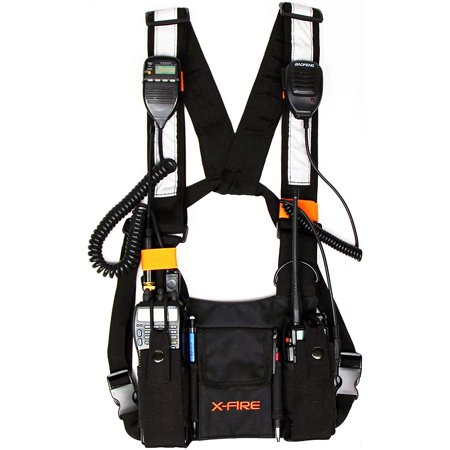 (2-Pack) X-FIRE® Dual Portable Radio 3m Reflective Chest Harness Vest Front Pouch Holder Holster for Two Way Walkie Talkie GPS Firefighter EMS EMT SAR Search Rescue Tactical Refineries Construction thumbnail