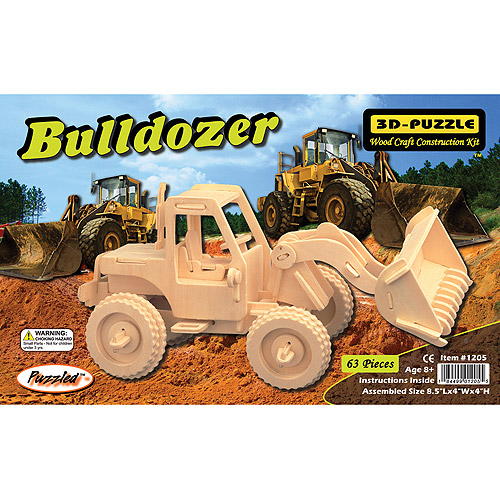 Puzzled 3D Puzzle Wood Craft Construction Kit, Bulldozer