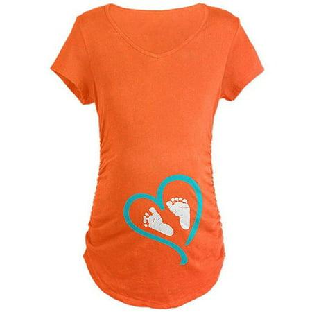 Baby Feet Heart Blue Maternity Dark T-Shirt