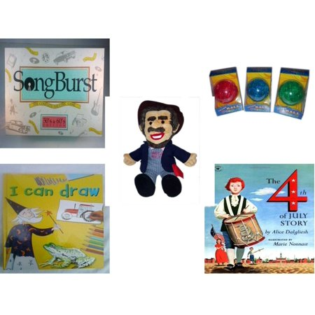 Children's Gift Bundle [5 Piece] -  Songburst 50's and 60's Edition  - Smart 12 Piece  Ball Assrt Colors Red, Blue, Green - BoxCar Willie Country Music Character Doll 16