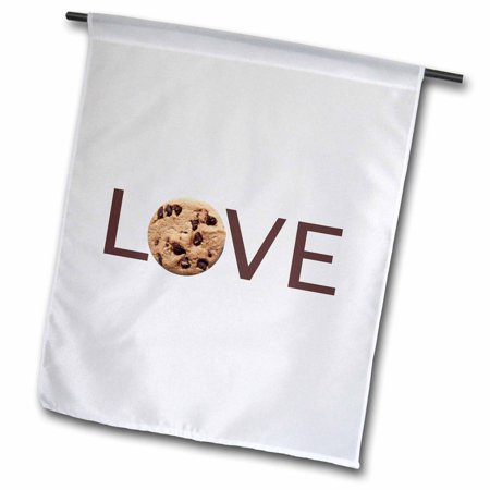 Image of 3dRose Love Cookies - text with chocolate chip cookie for O - yummy food - Garden Flag, 12 by 18-inch