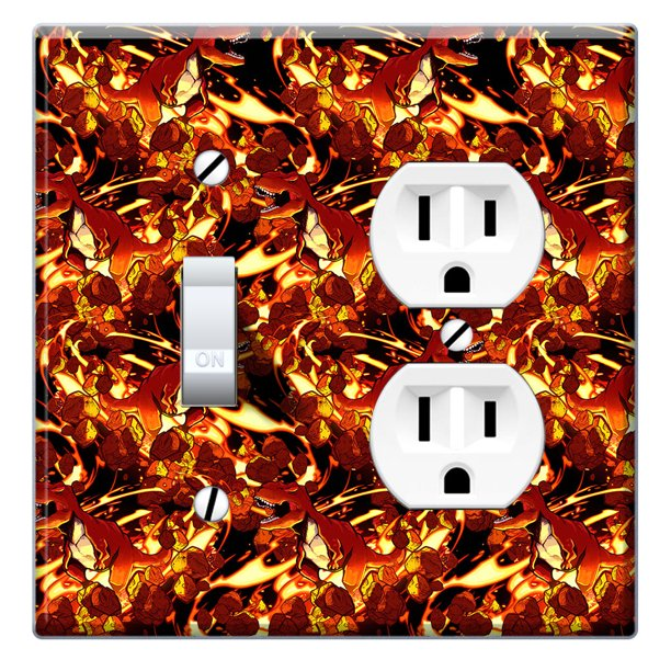 Wirester Double 1 Gang Toggle Light And 1 Gang Duplex Outlet Switch Plate Wall Plate Cover Tyrannosaurus Fire Walmart Com Walmart Com