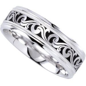 14k White Gold Bridal Engagement Ring Duo 7mm Comfort Fit Enameled Band - Size 9.5