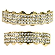 14K Gold Plated Grillz Set Bling Three 3 Row Upper Top And Bottom Lower Teeth Hip Hop Grills