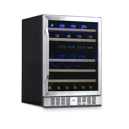 NewAir AWR-460DB 46-Bottle Dual-Zone Built-In Compressor Wine Refrigerator, Stainless Steel and (Best Built In Wine Refrigerator)
