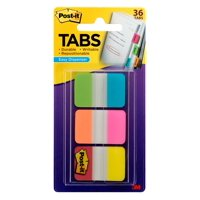 "Post-it Tabs, 1"" Wide Aqua, Yellow, Pink, Red, Green, Orange, 36 Tabs"
