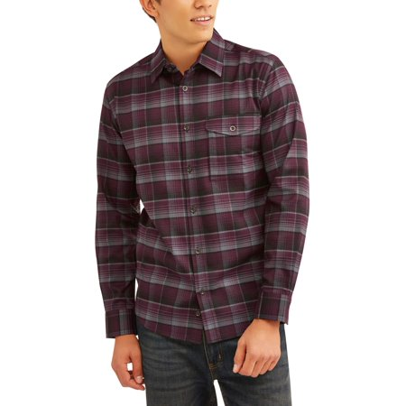 Swiss+Tech Men's and Men's Big Long Sleeve Poly Flannel Button Down shirt, up to size