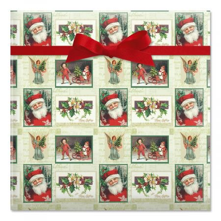 Santa Squares Jumbo Rolled Christmas Gift Wrap- 1 Giant Roll, 23 Inches Wide by 35 feet Long, Heavyweight, Tear-Resistant, Holiday Wrapping Paper