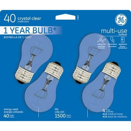 Black Finish 1 Bulb - GE Ceiling Fan Bulb, 40W, 4pk