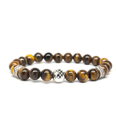 Tiger Eye Coin Gemstone - Wrist Beads Semiprecious Stone Bracelet - Real Tigers Eye Gemstones - for Chakra Healing and Balancing, fits Men and Women 7 inch - Adds Boho Charm to Any Outfit, by Orti Jewelry