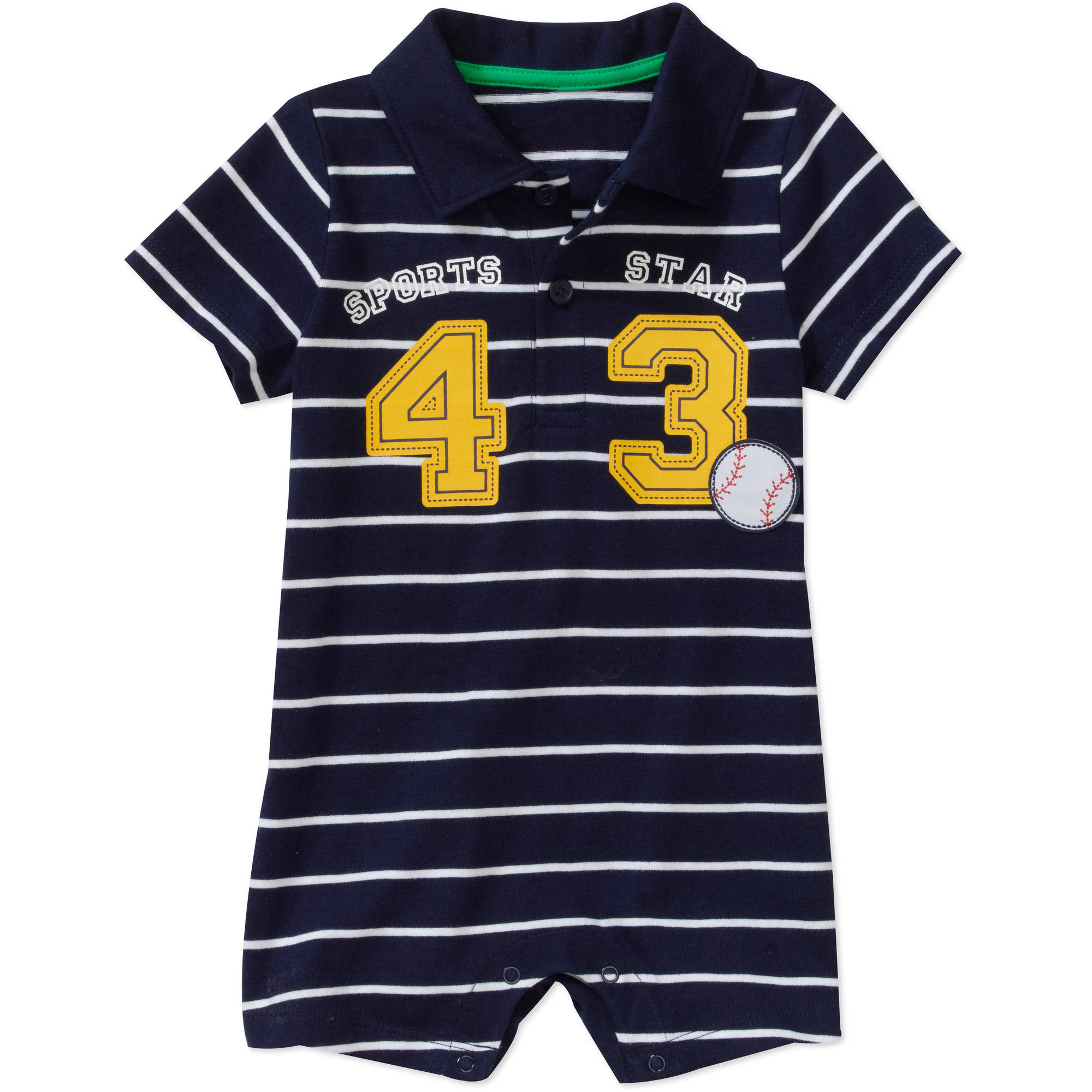 Newborn Boys' Stripe Polo Romper