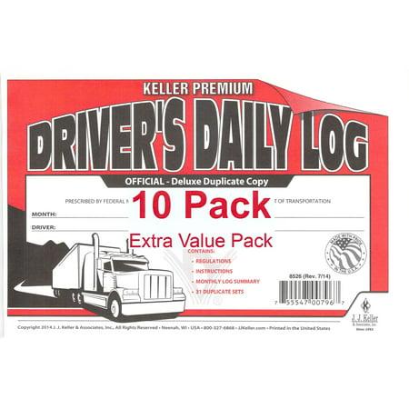 J.J. Keller 8526 701L Duplicate Copy Driver's Daily Log Book Carbonless - Pack of (Duplicate Log Book)