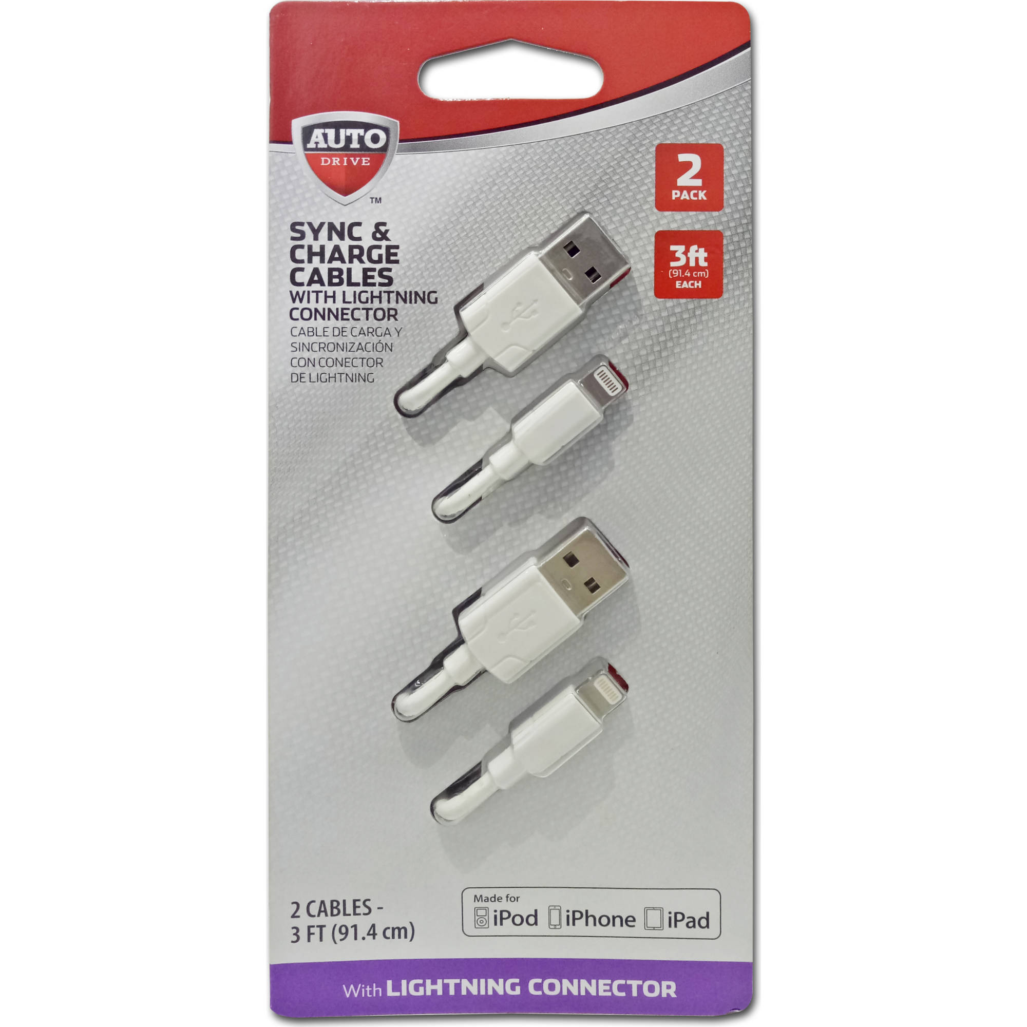 Lightning Charge/Sync Cable, 3', White, 2pk