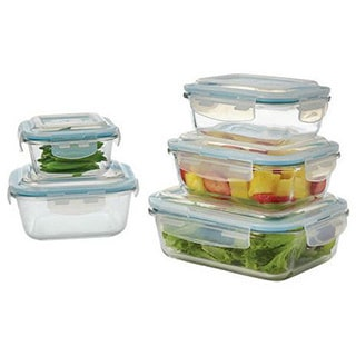 odash Clear Glass Food Storage Container 10 piece Set with Locking
