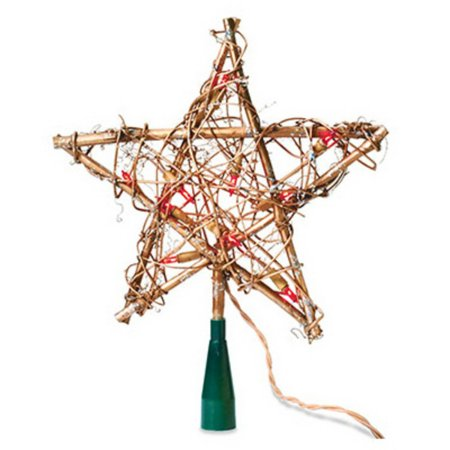 christmas tree top star amber grapevine 10 lights noma v49377