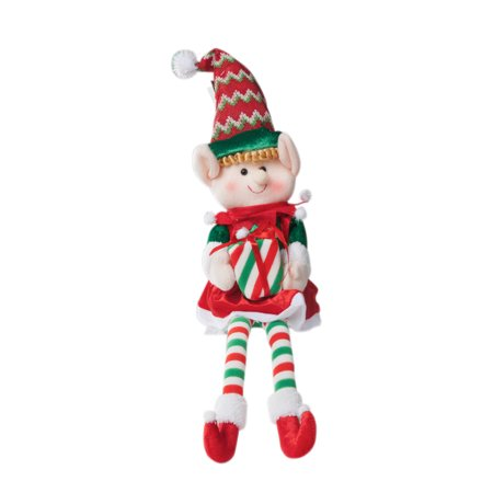 "Large Christmas 19"" Elf Figurine Decoration - Stuffed Christmas Elf Toys Doll - Walmart.com"