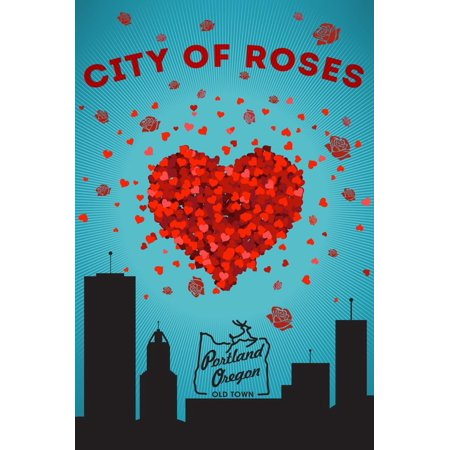 Portland, Oregon - I Love You City of Roses Print Wall Art By Lantern Press - Party City Oregon