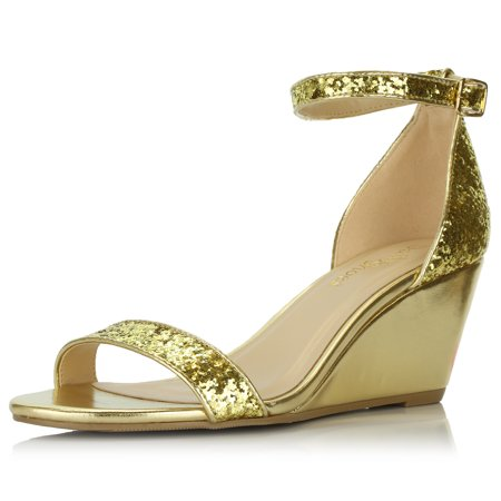 DailyShoes Wedge Heeled for Women Mid Sandal Ankle Strap Open Toe Sandals Shoes High Heels Summer Buckle Casual Straps Toed Strappy Wendy-19 Gold Gl Pump Medium Heel Ankle Strap