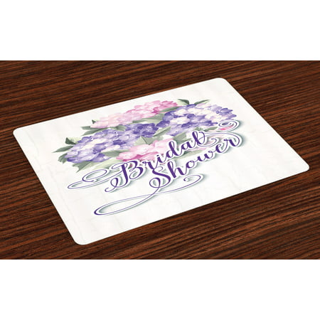 Bridal Shower Placemats Set of 4 Shabby Chic Hydrangeas Romantic Bride Flowers Image Art Print, Washable Fabric Place Mats for Dining Room Kitchen Table Decor,Purple and Pale Pink, by - Fabric Hydrangea