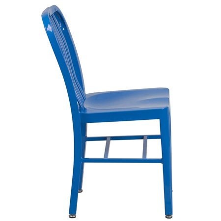 Bowery Hill Indoor-Outdoor Metal Dining Chair in Blue - image 3 of 4
